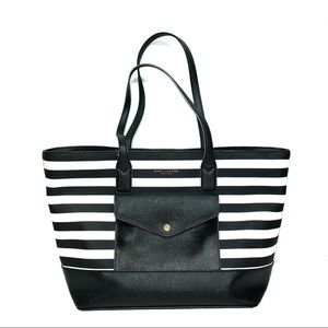 Marc Jacobs Snap Closure Black White Stripes Tote